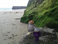 Doris and Edna enjoying the beach - despite the rain!