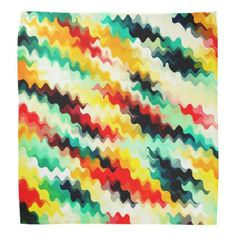 Red Blue Green Yellow White Abstract Pattern Bandana - red gifts color style cyo diy personalize unique