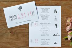 These custom wedding itineraries with fun silhouettes are sure to charm and delight your guests! Not only that, but theyll keep your wedding party
