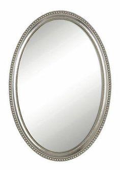 CLASSIC Beaded Edge SILVER OVAL Bathroom WALL MIRROR 32