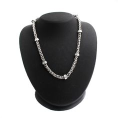 """Stainless Steel 18"""" Wheat Chain Necklace with Crystal Stations W400 #SteelbyDesign #Link"""