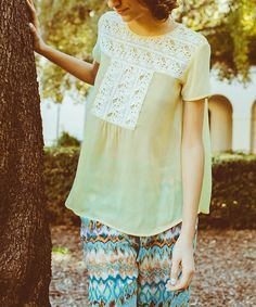 This Yellow Crochet Short Sleeve Top is perfect! #zulilyfinds