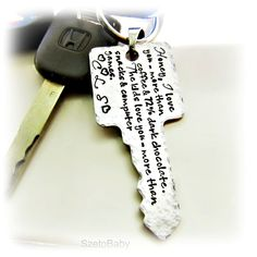 Personalized Mens Keychain, Dad, Grandpa, Boyfriend, Fiance, Key to my Heart, Customized up to 110 character spaces. $39.00, via Etsy.