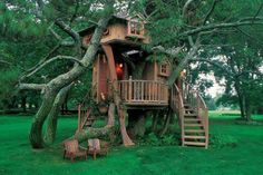 "How's this for a weekend getaway? For more inspiration view our ""Tree House"" album on our site at http://theownerbuildernetwork.co/quiet-spaces/tree-houses/ Tell us what you think of this."