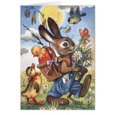 Vintage Easter Bunny is On His Way Card - vintage gifts retro ideas cyo Easter Art, Hoppy Easter, Easter Crafts, Easter Eggs, Easter Ideas, Old Illustrations, Decoupage, Easter Illustration, Images Vintage
