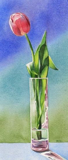 Barbara Fox - Daily Paintings: tulip by celia Watercolor Fox, Watercolor Cards, Watercolor Flowers, Watercolor Paintings, Watercolors, Watercolor Artists, Watercolor Portraits, Watercolor Landscape, Arte Floral