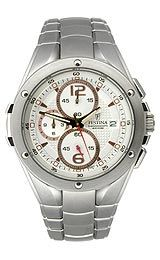 Festina F67981 Watch in Polished silver tone hands with glowing accents and red chronograph attract seconds, Polished rose gold tone/red hands tag subdials