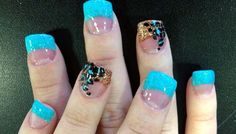 Turquoise and Leopard nails