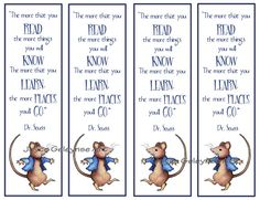 Kids Instant Printable Bookmarks Beatrix Potter Mouse with Quote by Dr. Seuss: by joyart, $3.00, Download immediately and print as often as you wish!  These make great party favors for children's parties!