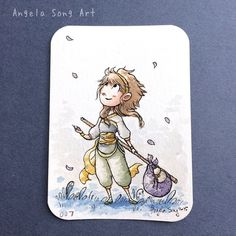 Close up view of my character Reina ACEO card, available at angelasongart.storenvy.com :) $25, includes free shipping. Thanks for supporting, guys! #aceo #original #watercolor #tradingcard #traveler #painting #art #illustration #storenvy #angelasongart