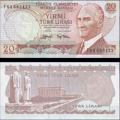 6.Emisyon 20 Lira Turkish Lira, Old Money, Nostalgia, Vintage World Maps, Diy And Crafts, Coins, Memories, Banknote, Money