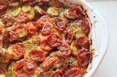 Summer Vegetable Casserole. Layers of tomatoes, squash, zucchini, cheese, herbs and spices. #tomato #squash #zucchini #casserole #southern