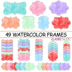 "Watercolor clipart tags: ""WATERCOLOR FRAMES"" colourful clipart frames, labels, tags - pink, red, blue, mint, coral, aqua blue, purple tags by clairetale. Explore more products on http://clairetale.etsy.com"