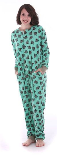 Grey sheep on green, 100% cotton adult onesie non footed pajamas by funzee