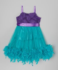 Look what I found on #zulily! Blue & Purple Bow Feather Dress - Toddler & Girls by Seesaws & Slides #zulilyfinds