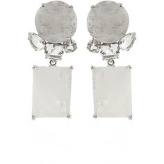 Bounkit Square Moonstone and Quartz Drop Earrings ($420) ❤ liked on Polyvore