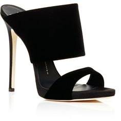 Shoes Black Veronica Two Strap Slides (€620) ❤ liked on Polyvore featuring shoes, heels, monk-strap shoes, black shoes, black strappy shoes, velvet shoes and strappy shoes