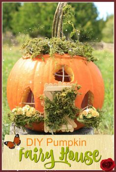 Keep the fairy garden tradition going in the fall with a fun pumpkin fairy house.