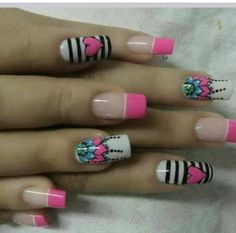 The University of Manicure: The art of drawing mandalas . on your nails - Best Nail Art Really Cute Nails, Love Nails, Fun Nails, Pretty Nails, Bright Nail Designs, Elegant Nail Designs, Nail Art Designs, Funky Nail Art, Cute Nail Art