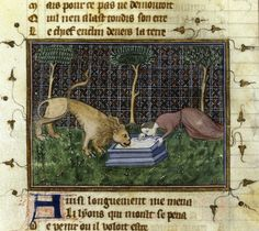 Manuscript about the life and work of Guillaume de Machaut (Medieval French poet and composer - Machaut and the lion. Medieval Music, Medieval Life, Medieval Art, Illuminated Letters, Illuminated Manuscript, In Medias Res, Fantasy Beasts, Medieval Manuscript, Prayer Book