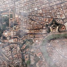 Flying over Rome and the Vatican.