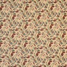 F914 Gold Red And Green Floral Leaves Tapestry Upholstery Fabric By The Yard
