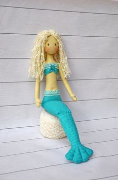 textile doll mermaid, mermaid fabric, Mermaid Plush Doll, handmade mermaid