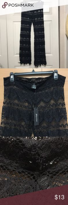 Black lace Beach loungewear pants/cover up Black lace beach cover up pants, never worn new with tags. The stitching on the front band has come undone, barely noticeable third picture shows it. shinestar Swim Coverups