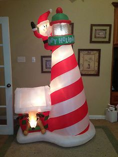 Prototype Gemmy Christmas Santa Lighthouse Inflatable Airblown | eBay