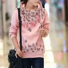 Women's Casual/Print Medium Long Sleeve Regular Hoodies ( Cotton ) – USD $ 23.99