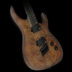 Legator Ninja 300-Pro Fanned Fret Electric Guitar Black Satin Burl