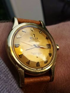 Superb Vintage OMEGA Constellation Piepan Deluxe Chronometer In 18K Solid Gold Circa 1950s