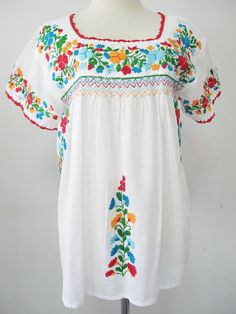 Mexican Embroidered Blouse Short Sleeve White Cotton by chokethai