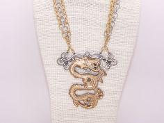 lost wax cast bronze dragon necklace by BellizaKnightJewelry, $188.00
