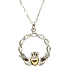 Shanore Platinum Gold Plated Claddagh Heart Pendant with Pearl on Round Link Chain