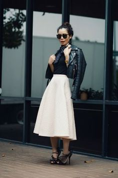 Nail an edgy-meets-prim vibe with a full midi skirt, neckerchief, and leather moto jacket. Full Midi Skirt, Skater Skirt, Work Looks, Fashion Outfits, Fashion Trends, Dressy Outfits, Modest Fashion, Stylish Outfits, Fashion Ideas