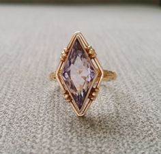 Antique Amethyst Engagement Ring Diamond Cut 1800s Bohemian Boho Filigree milgraine Unique Victorian Estate Rose Gold 10K Gold Art Deco 5.75