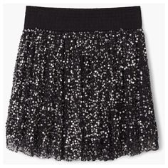 MANGO Sequin Skirt ($50) ❤ liked on Polyvore featuring skirts, sequin skirt, mango skirt, elastic waist skirt, embroidered skirt and full skirt