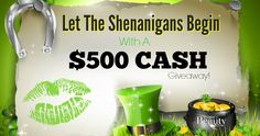 "$500 Paypal Cash Shenanigans Giveaway  Who wants a n extra $500 cash?! Join this ""Let The Shenanigans Begin"" Giveaway! See details below. Good luck!  Worldwide Giveaway"