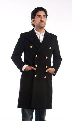 1970's MILITARY STYLE VINTAGE Italian Navy Officer Peacoat Bridgecoat  Overcoat