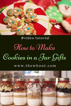 These Cookie In A Jar Gifts are an inexpensive and thoughtful holiday idea that everyone will love. We have 5 flavors and a video to show you how. Christmas Jar Gifts, Christmas Cookies Gift, Christmas Baking, Christmas Candy, Mason Jar Meals, Mason Jar Gifts, Meals In A Jar, Cookie Gifts, Food Gifts