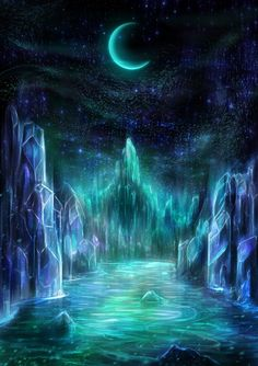 The Midnight Realms (digital wallpaper) - Louis Dyer Visionary Digital Artist Fantasy Art Landscapes, Fantasy Paintings, Fantasy Artwork, Magical Paintings, Oil Paintings, Fantasy Places, Fantasy World, Fantasy Kunst, Fantasy Background