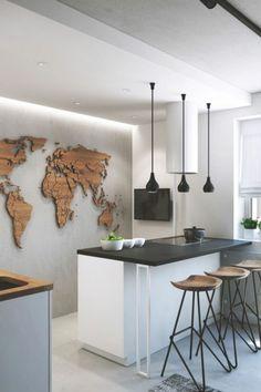 moderne Küche mit Betonwand und 3D Weltkarte aus Holz