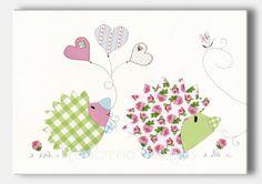 Nursery Art Baby Girl Hedgehog Kids Wall Art by RoolarooDesigns, $13.50