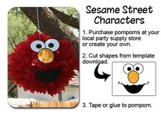 Image of Elmo PomPom Face Template