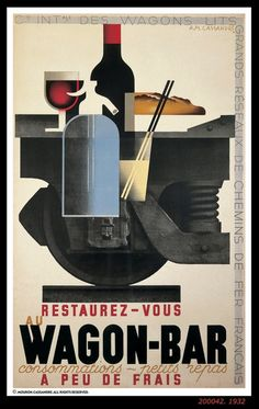 Vintage Wine Wagon-Bar Poster Cassandre pseudonym of Adolphe Jean-Marie Mouron – was a Ukrainian-French painter, commercial poster artist, Vintage Advertising Posters, Retro Poster, Art Deco Posters, Poster Ads, Vintage Travel Posters, Vintage Advertisements, Print Advertising, Maurice Utrillo, Pub Vintage