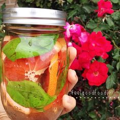 Grapefruit and basil infused water
