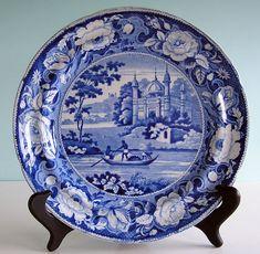 Staffordshire Blue Transferware MOSQUE w FISHERMEN Davenport Dinner Plate c1830 #Georgian