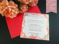 Floral Chinese Wedding Card, Rose Red designs and printing wedding invitation card