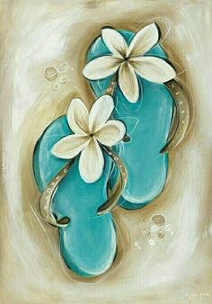 Cutest little flip flops painting with plumeria flowers. Awesome beginner painti… Cutest little flip flops painting with plumeria flowers. Beginner Painting, Diy Painting, Diy Canvas, Canvas Art, Beach Canvas Paintings, Canvas Ideas, Flip Flop Tattoo, Paint And Sip, Paint Party